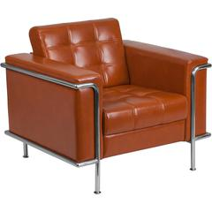 HERCULES Lesley Series Contemporary Cognac Leather Chair with Encasing Frame