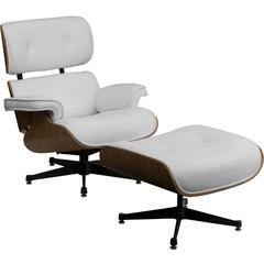 HERCULES Presideo Series Top Grain White Italian Leather Lounge Chair and Ottoman Set with Metal Base