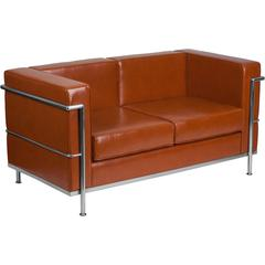 HERCULES Regal Series Contemporary Cognac Leather Loveseat with Encasing Frame