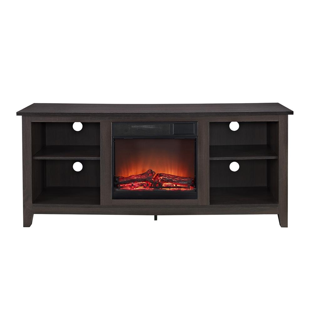 58 Espresso Wood Tv Stand W Fireplace Insert