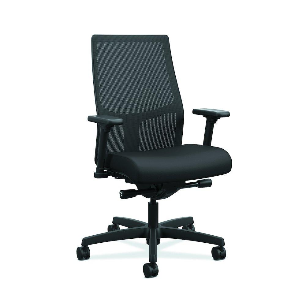 Black fabric chair - Hon Ignition Mid Back Task Chair Ilira Back Black Fabric