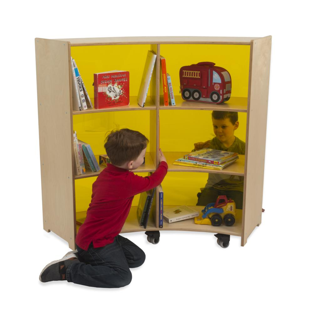 Curve-Out Yellow Acrylic Back Cabinet. Picture 1