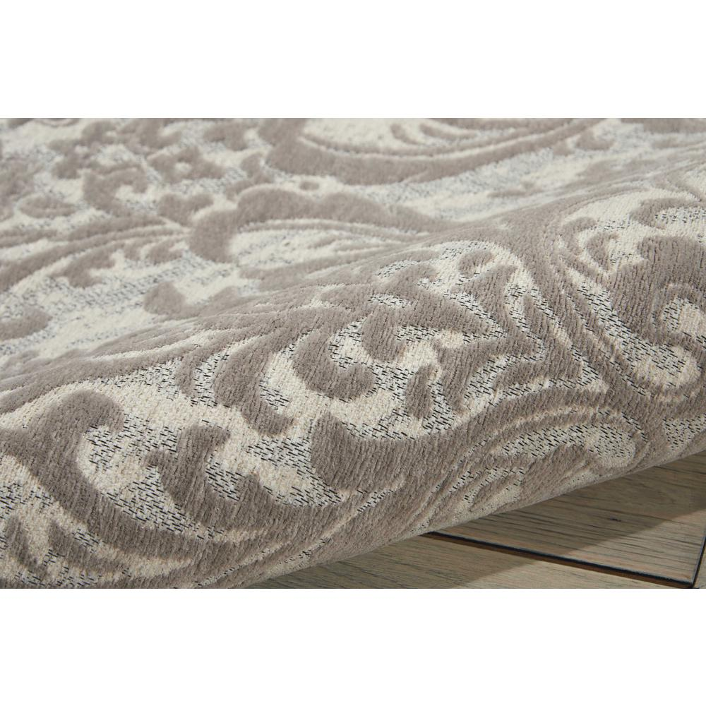 Damask Area Rug, Ivory/Grey, 5' x 7'. Picture 3