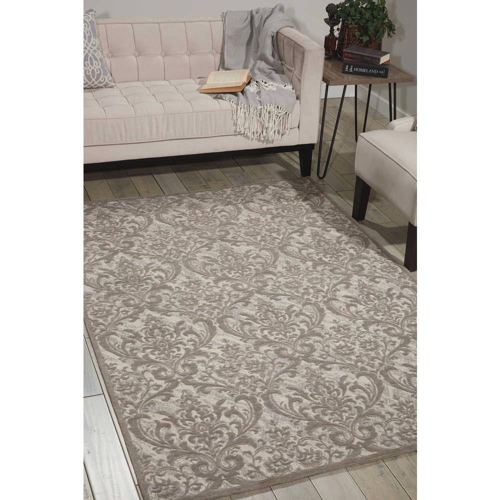 Damask Area Rug, Ivory/Grey, 5' x 7'. Picture 4