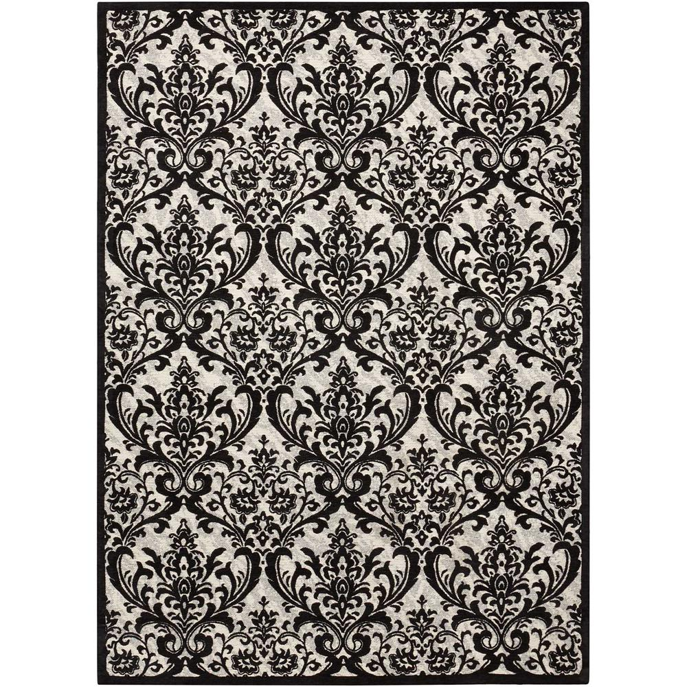 Damask Area Rug, Black/White, 5' x 7'. Picture 1