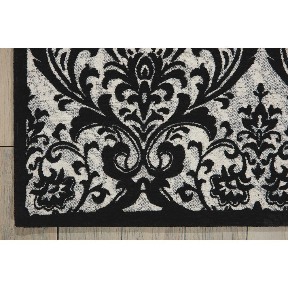 Damask Area Rug, Black/White, 5' x 7'. Picture 2