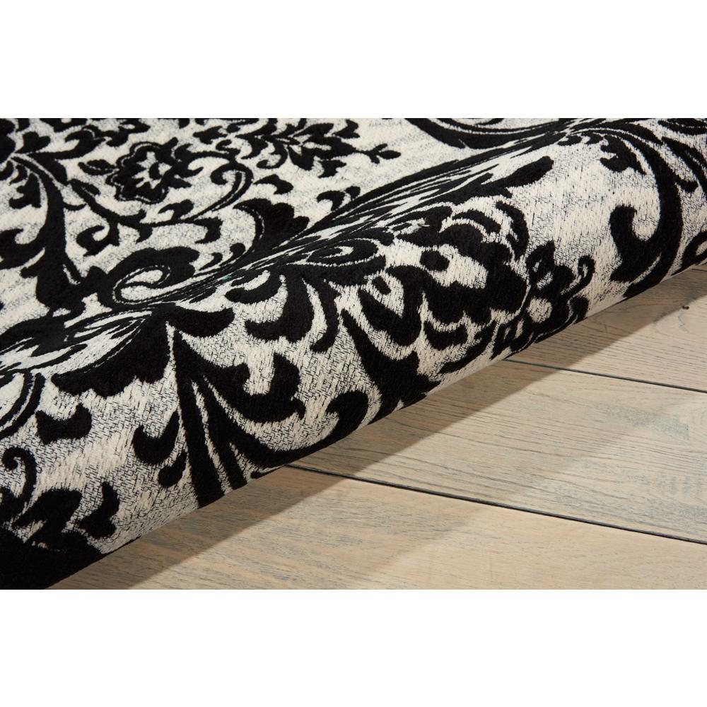 Damask Area Rug, Black/White, 5' x 7'. Picture 3