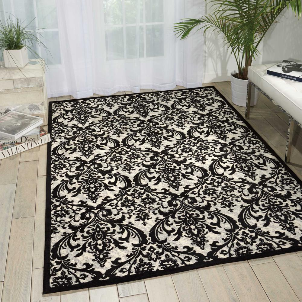 Damask Area Rug, Black/White, 5' x 7'. Picture 4