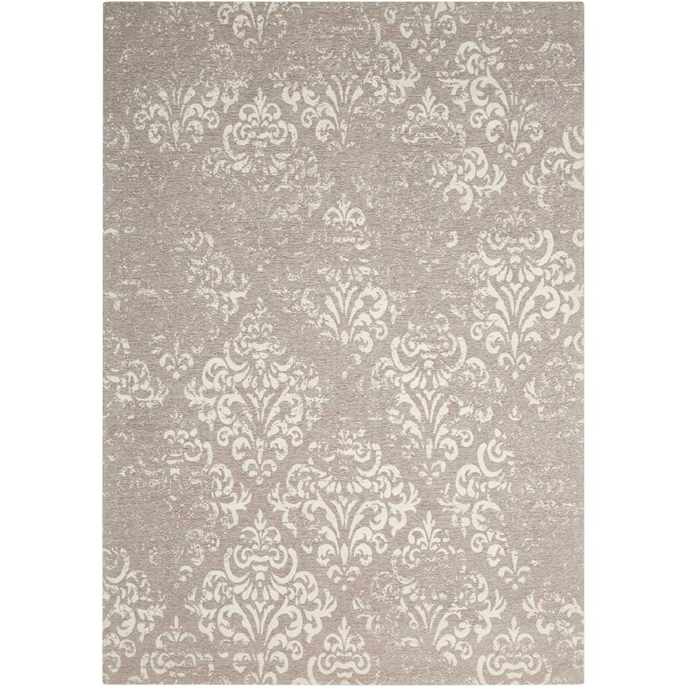 Damask Area Rug, Ivory/Grey, 5' x 7'. Picture 1