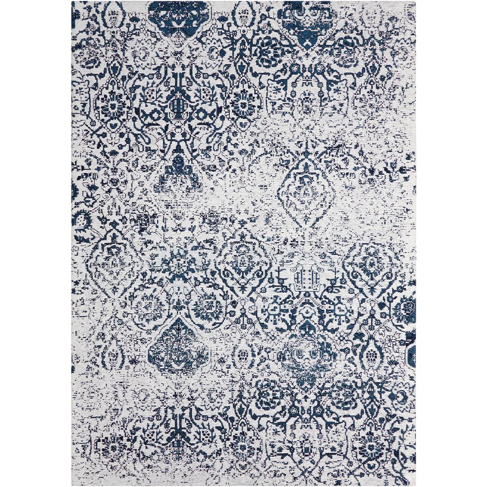 Damask Area Rug, Ivory/Navy, 5' x 7'. Picture 1