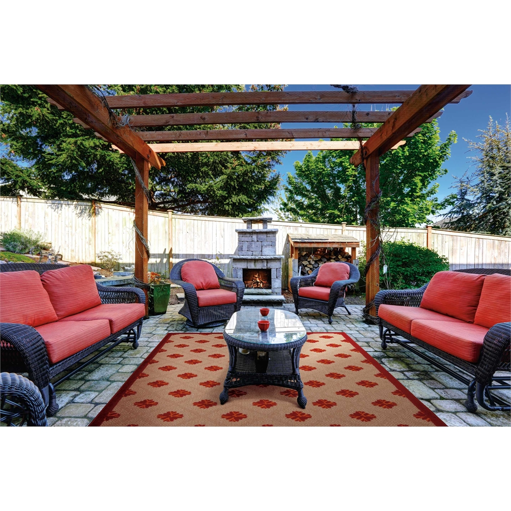 Nourison Aloha Red Indoor/Outdoor Area Rug. Picture 6