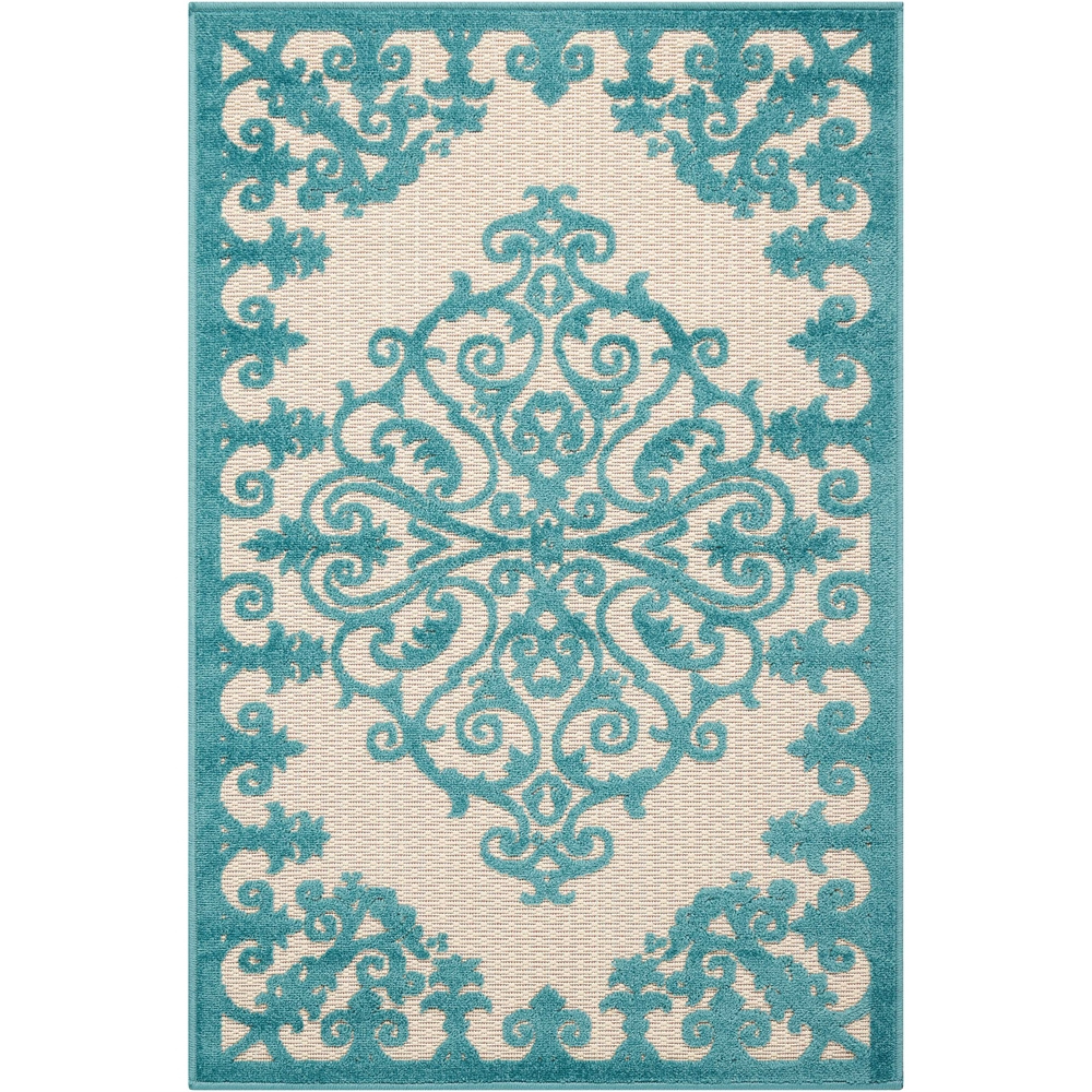 "Aloha Area Rug, Aqua, 2'8"" x 4'. The main picture."