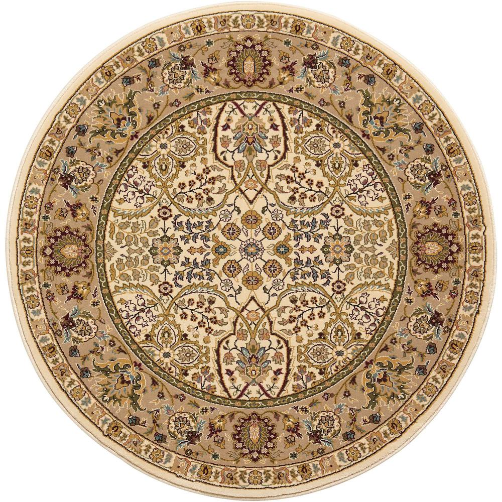 "Antiquities Area Rug, Ivory, 3'9"" x ROUND. Picture 1"