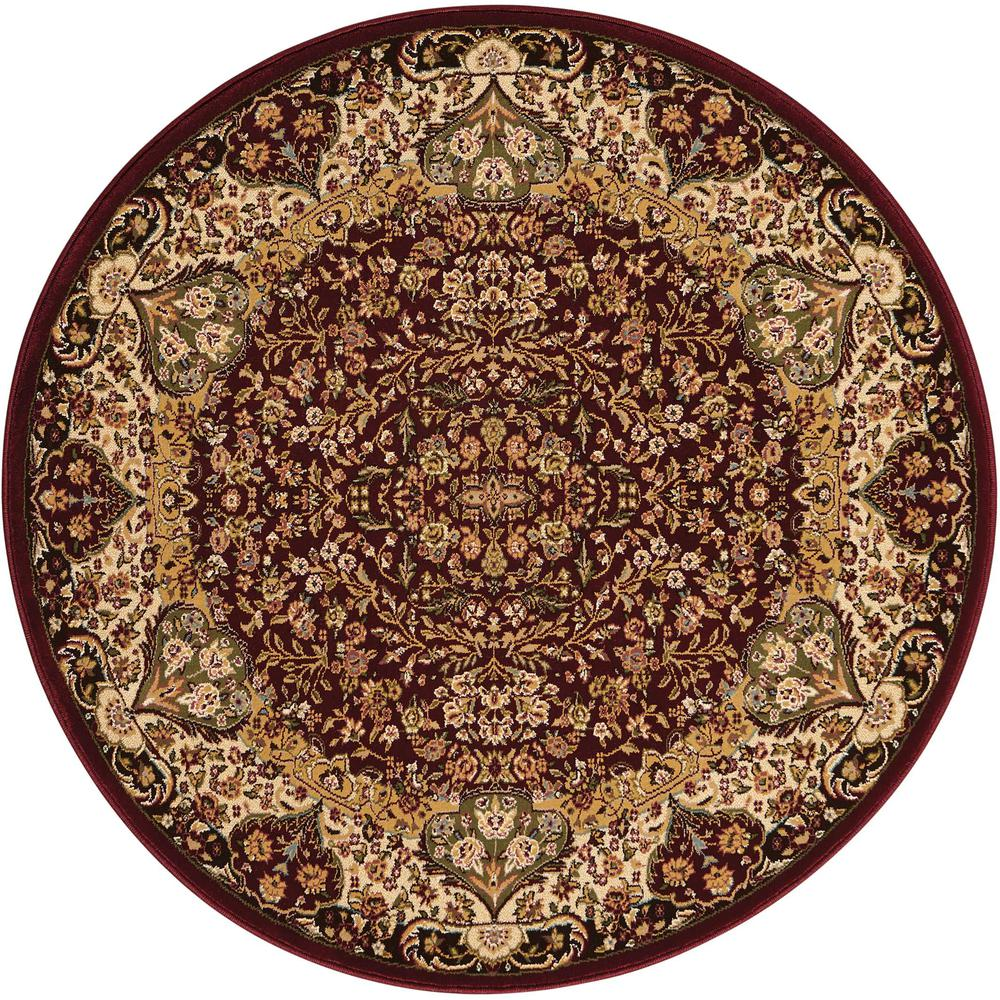 "Antiquities Area Rug, Burgundy, 3'9"" x ROUND. Picture 1"