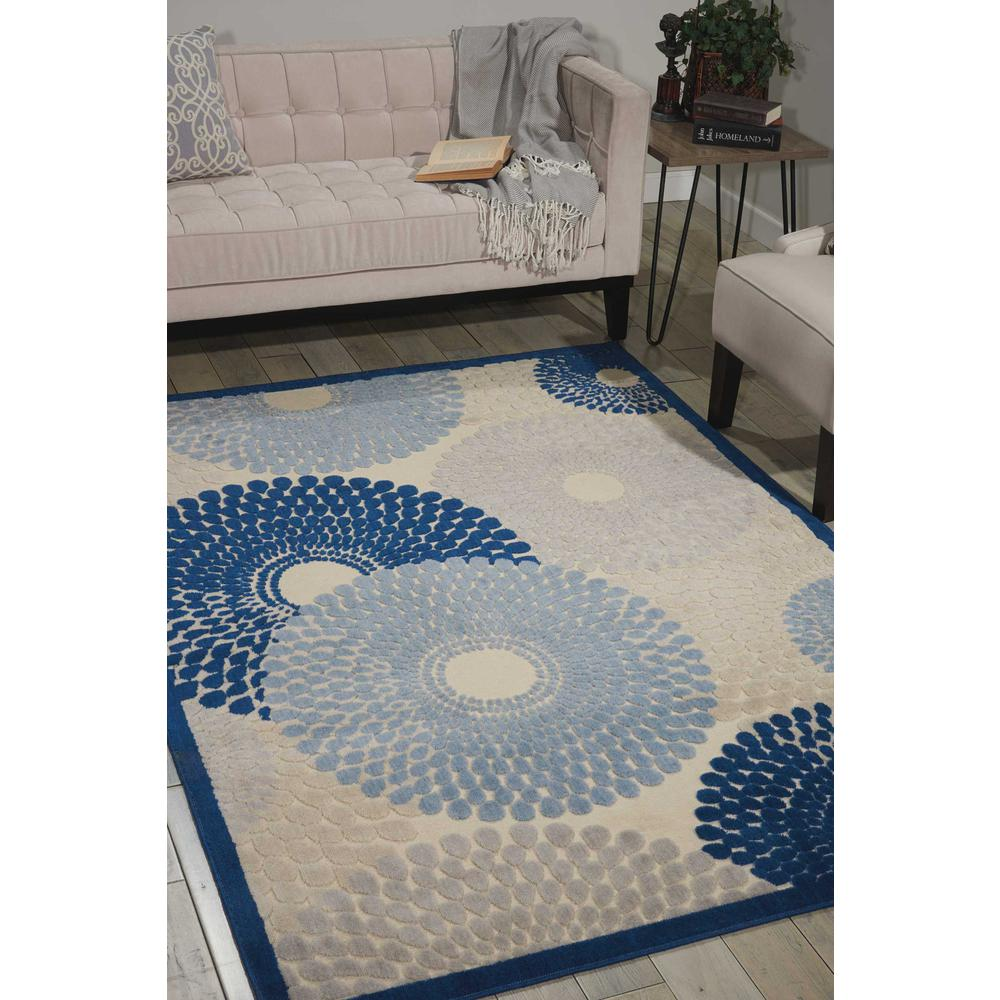 "Graphic Illusions Area Rug, Ivory/Blue, 3'6"" x 5'6"". Picture 4"