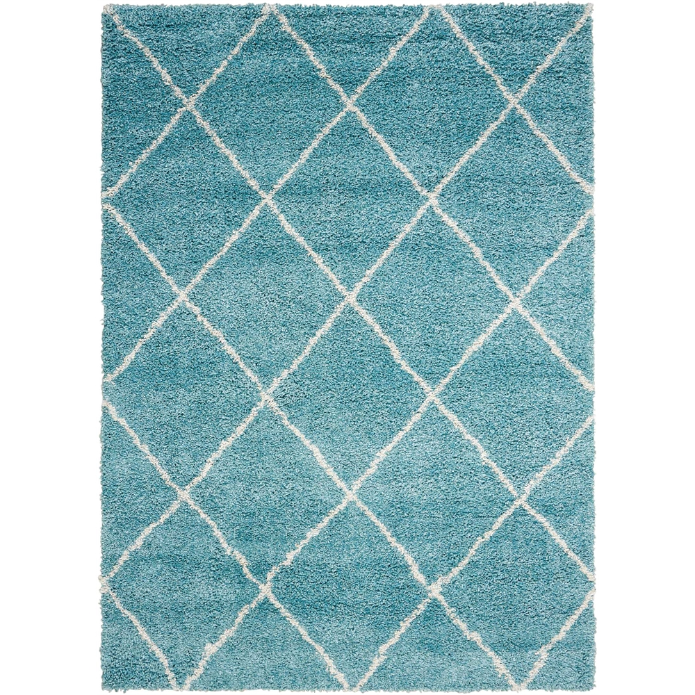 Brisbane Area Rug, Aqua, 5' x 7'. Picture 1
