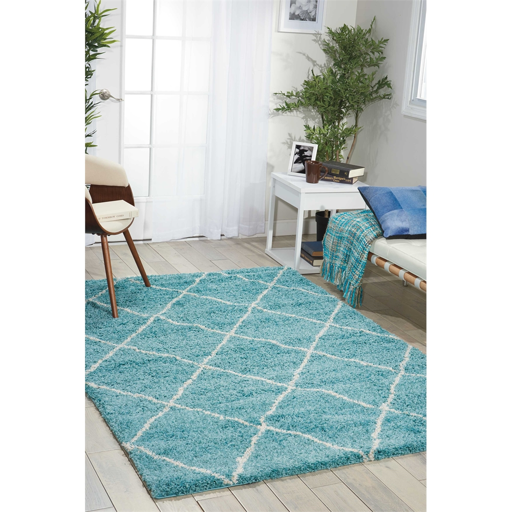 Brisbane Area Rug, Aqua, 5' x 7'. Picture 5