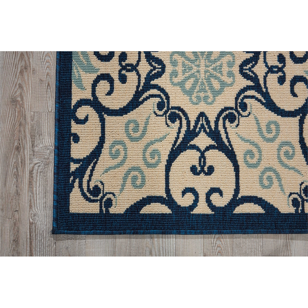 """Caribbean Area Rug, Ivory/Navy, 2'3"""" x 7'6"""". Picture 2"""