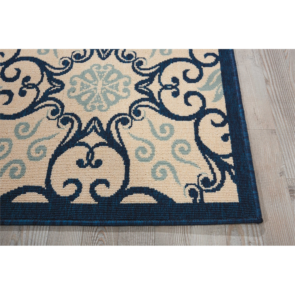 """Caribbean Area Rug, Ivory/Navy, 2'3"""" x 7'6"""". Picture 3"""