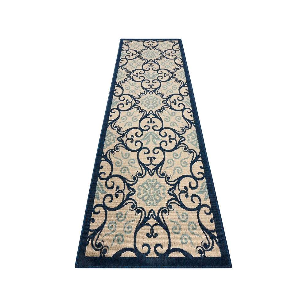 """Caribbean Area Rug, Ivory/Navy, 2'3"""" x 7'6"""". Picture 5"""