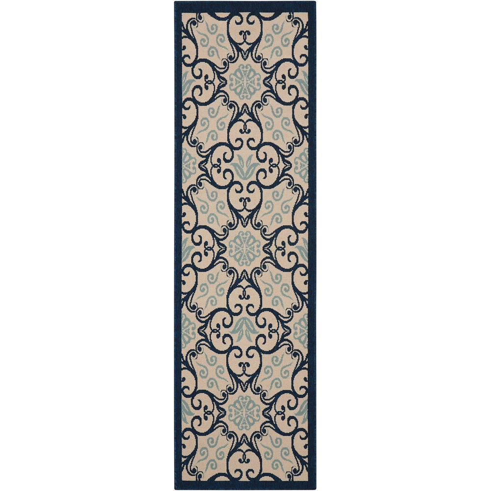 """Caribbean Area Rug, Ivory/Navy, 2'3"""" x 7'6"""". Picture 1"""