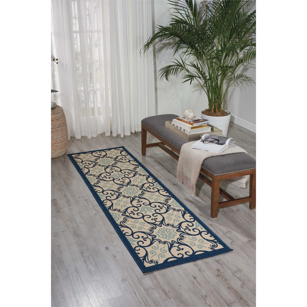 """Caribbean Area Rug, Ivory/Navy, 2'3"""" x 7'6"""". Picture 6"""