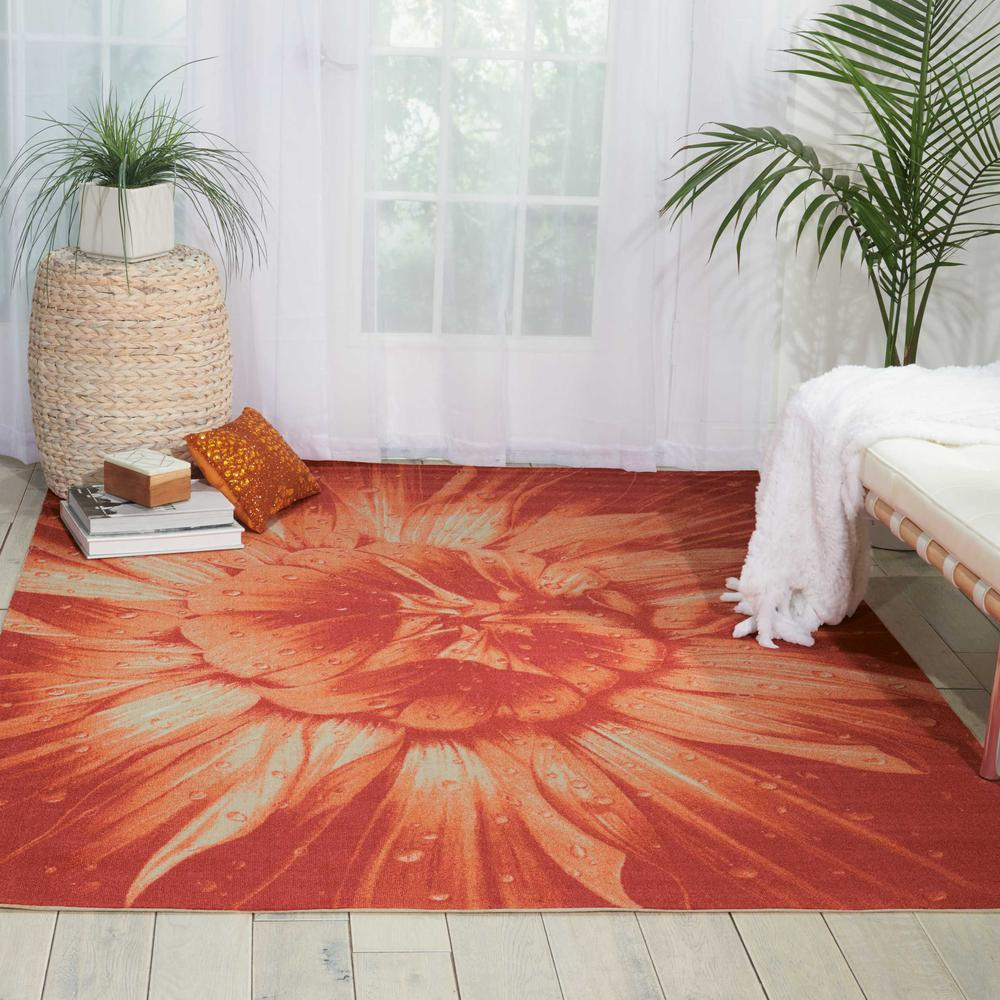 """Coastal Area Rug, Red, 5'3"""" x 7'5"""". Picture 3"""