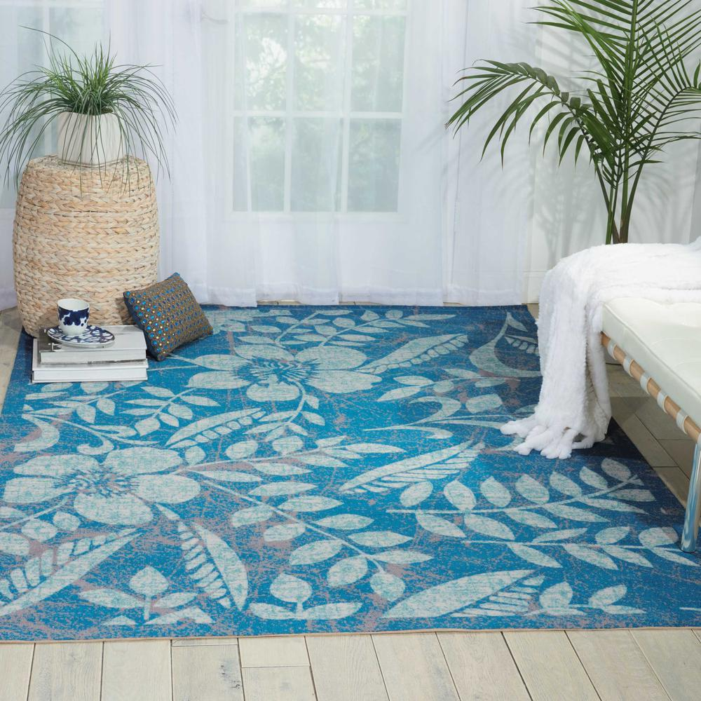 "Coastal Area Rug, Blue, 5'3"" x 7'5"". Picture 3"
