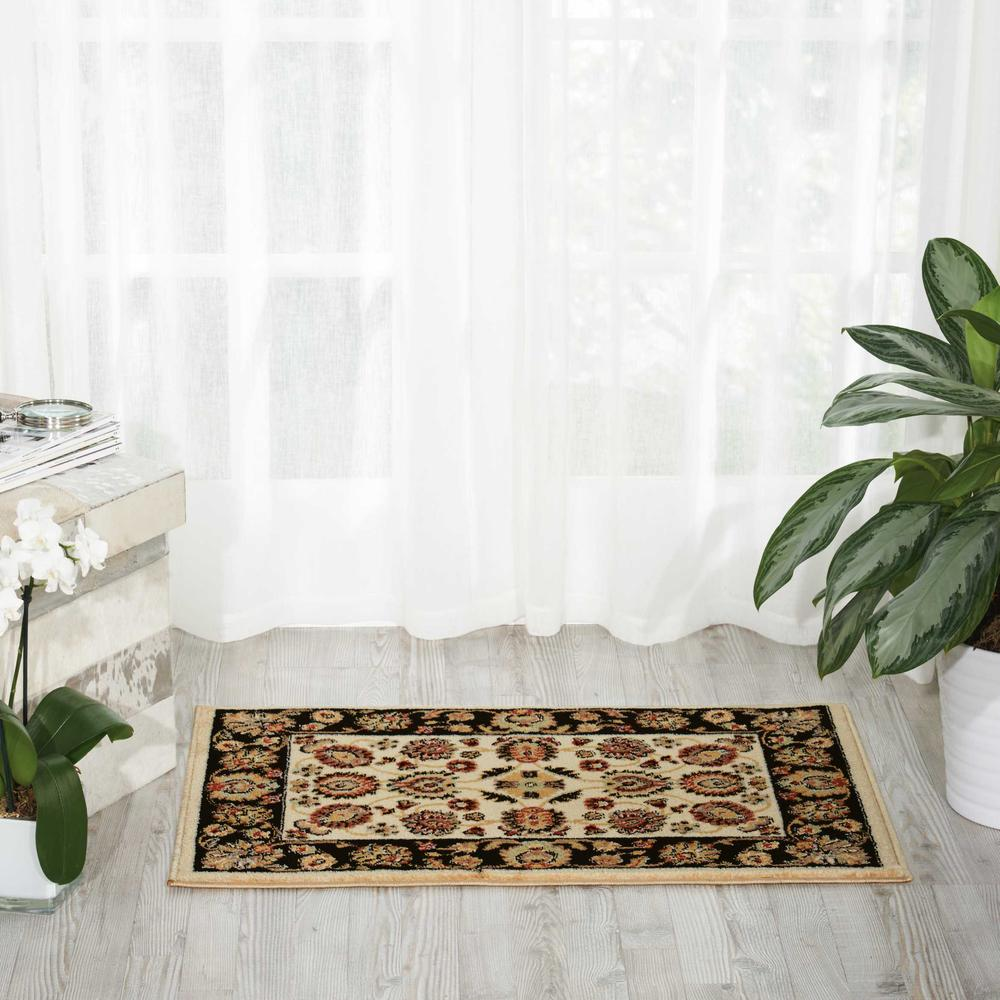Delano Area Rug, Ivory/Black, 2' x 3'. Picture 2