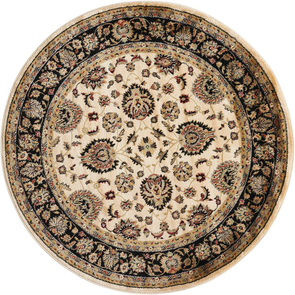 "Delano Area Rug, Ivory/Black, 5'3"" x ROUND. The main picture."