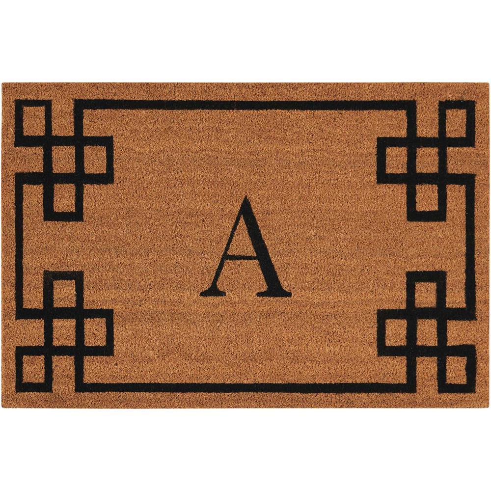 """Nourison Elegant Entry """"A"""" Natural Doormat. Picture 1"""