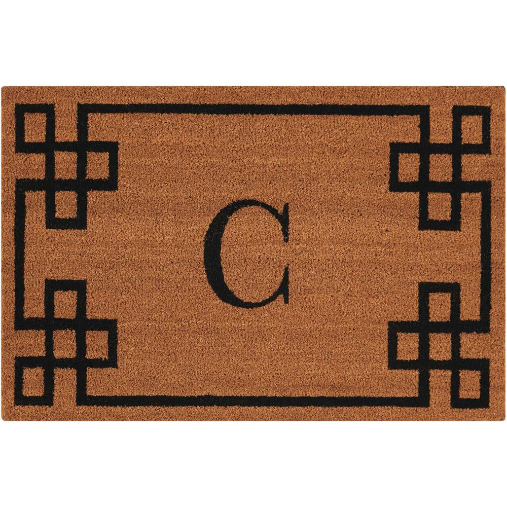 "Nourison Elegant Entry ""C"" Natural Doormat. Picture 1"