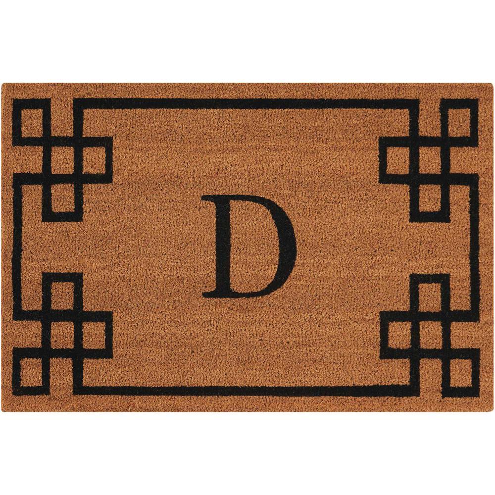 """Nourison Elegant Entry """"D"""" Natural Doormat. Picture 1"""