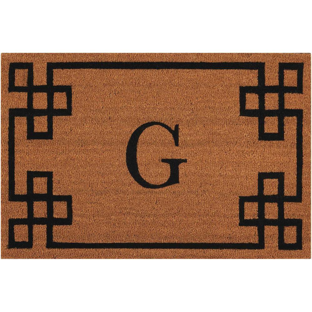 "Nourison Elegant Entry ""G"" Natural Doormat. Picture 1"