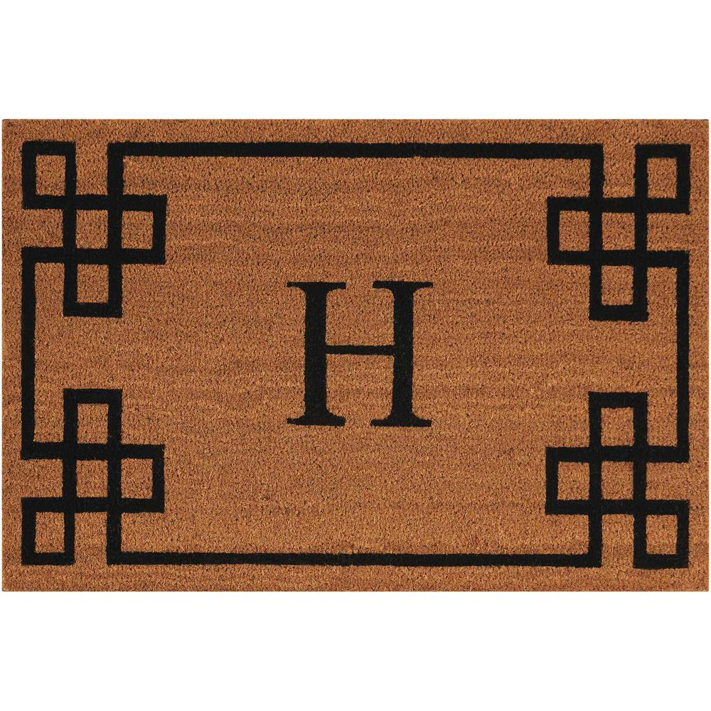 "Nourison Elegant Entry ""H"" Natural Doormat. Picture 1"