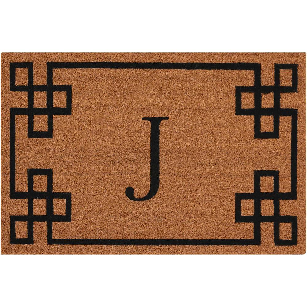 "Nourison Elegant Entry ""J"" Natural Doormat. Picture 1"