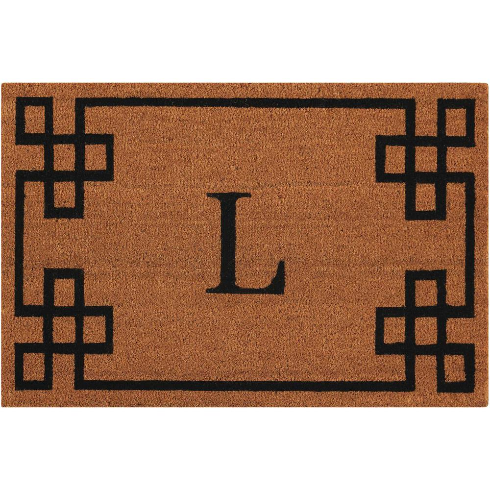 "Nourison Elegant Entry ""L"" Natural Doormat. Picture 1"