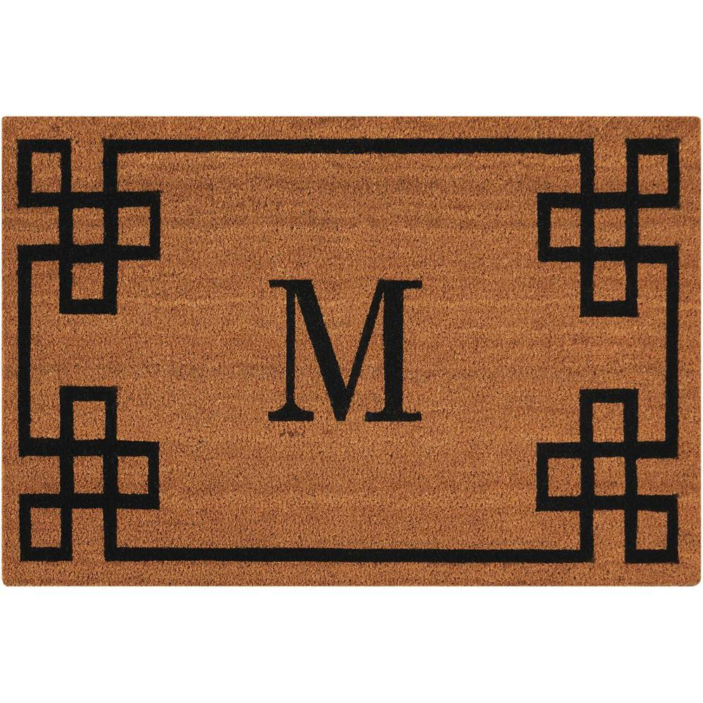 "Nourison Elegant Entry ""M"" Natural Doormat. Picture 1"