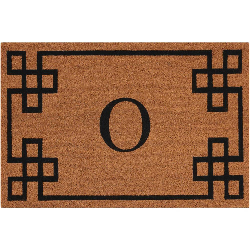 "Nourison Elegant Entry ""O"" Natural Doormat. Picture 1"