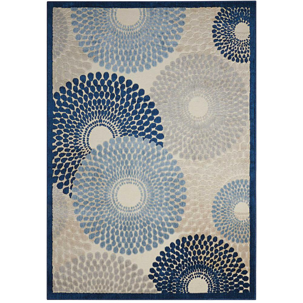 """Graphic Illusions Area Rug, Ivory/Blue, 7'9"""" x 10'10"""". Picture 1"""