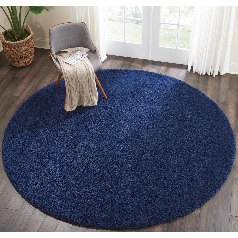 "Malibu Shag Area Rug, Navy, 7'10"" x ROUND. Picture 5"