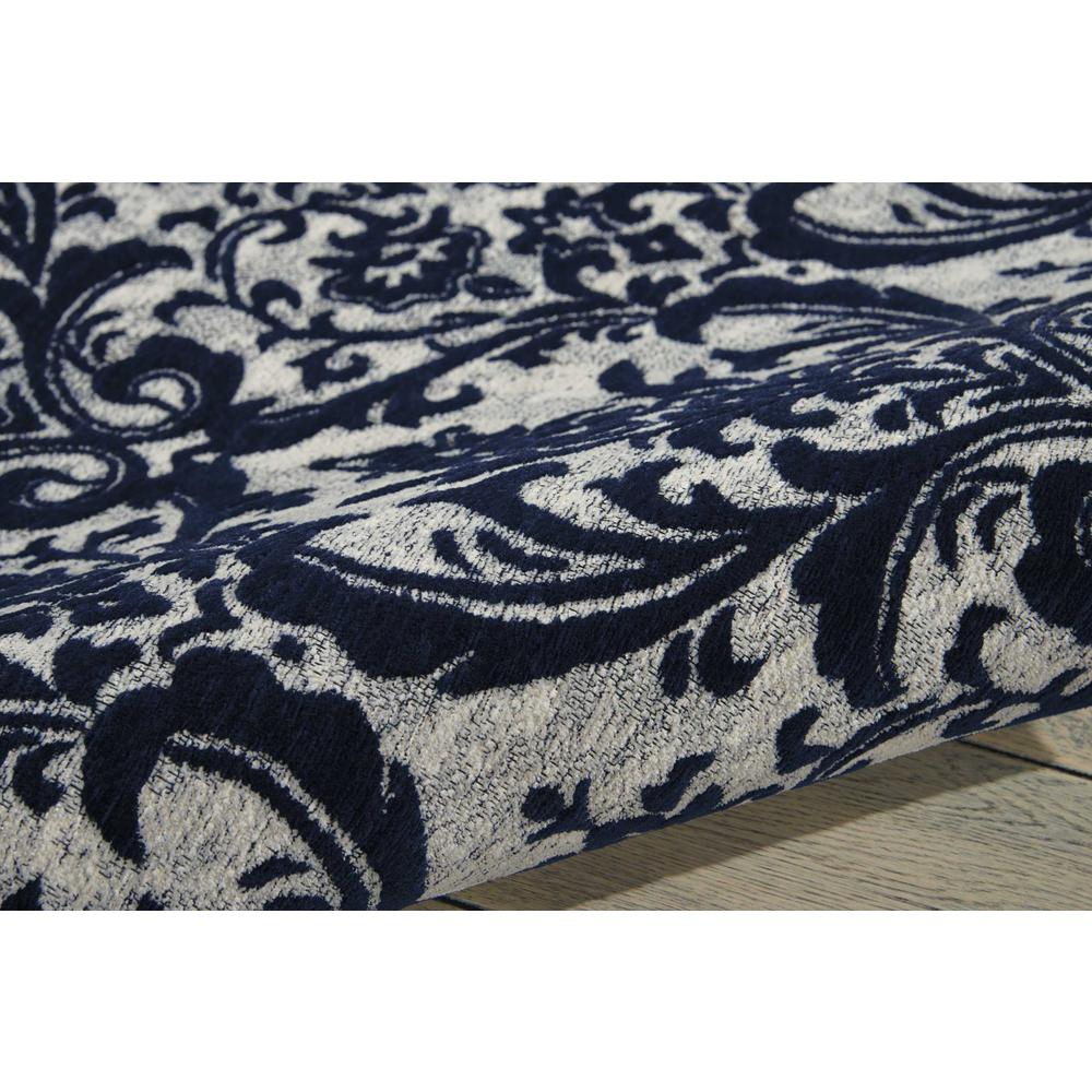 "Damask Area Rug, Ivory/Navy, 2'3"" x 3'9"". Picture 3"