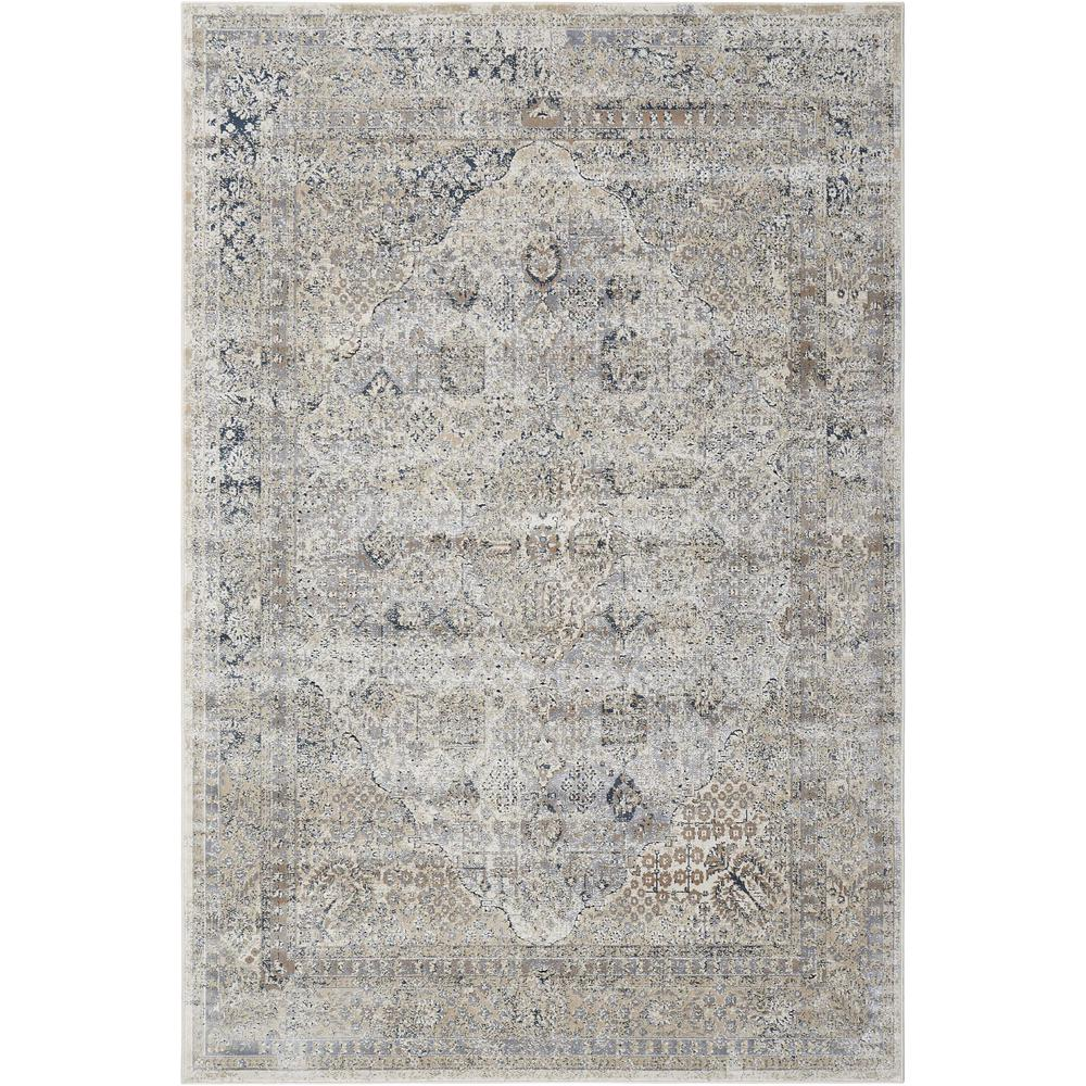 "KI25 Malta Area Rug, Ivory/Blue, 5'3"" x 7'7"". The main picture."