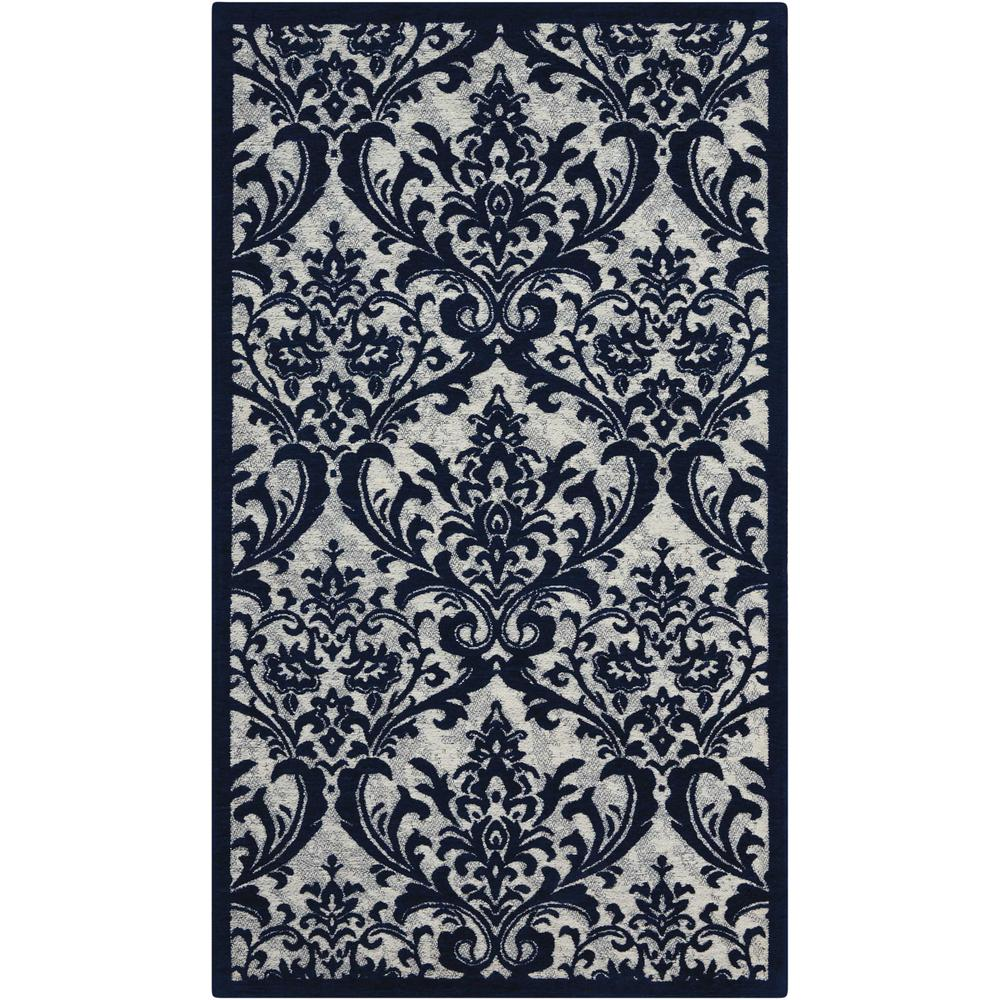 "Damask Area Rug, Ivory/Navy, 2'3"" x 3'9"". The main picture."