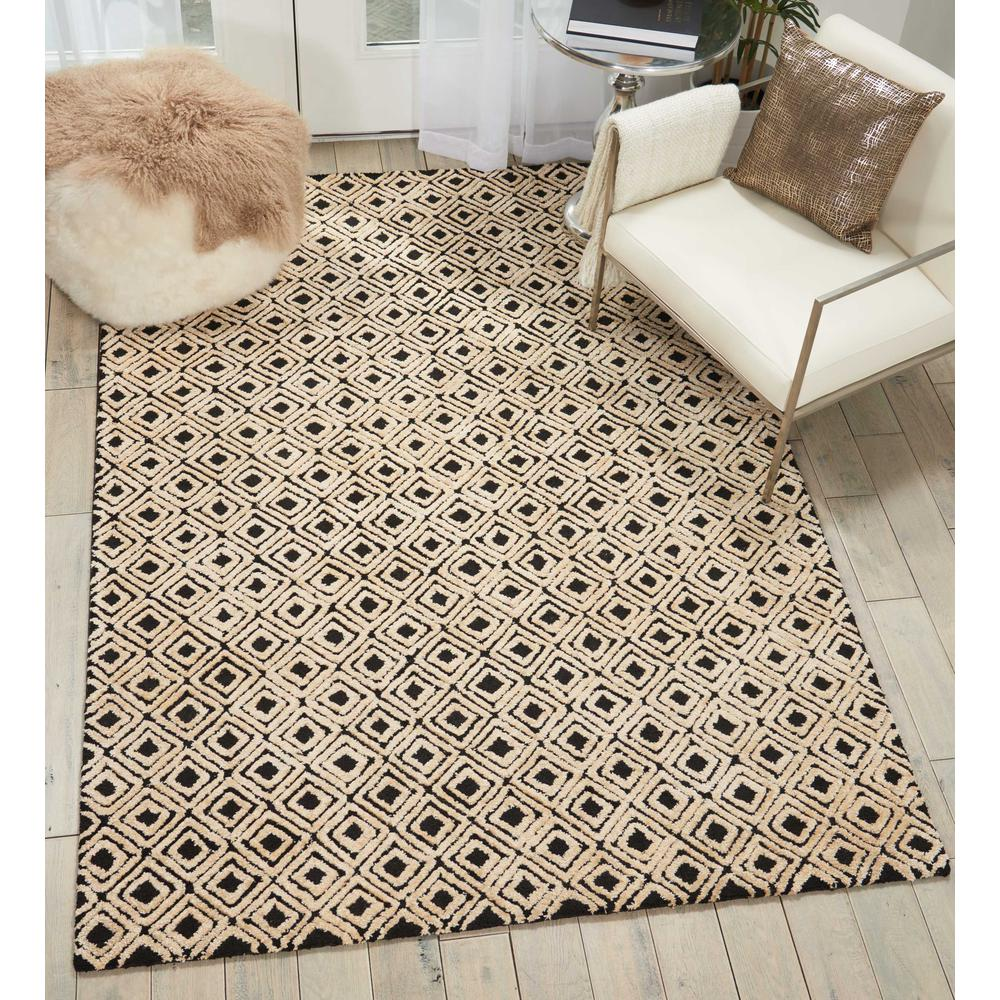 "Modern Deco Area Rug, Black/Beige, 3'9"" x 5'9"". Picture 4"