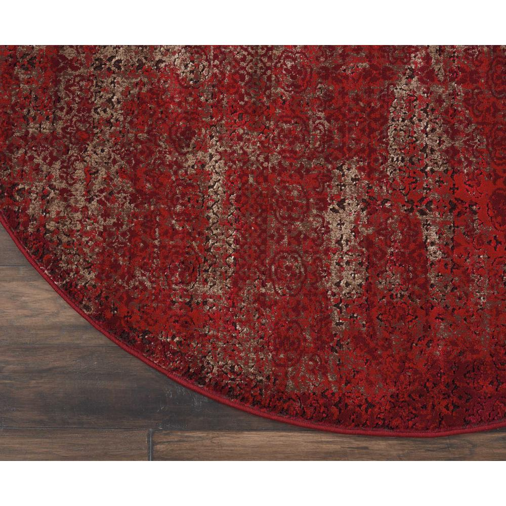 """Karma Area Rug, Red, 7'10"""" x ROUND. Picture 4"""