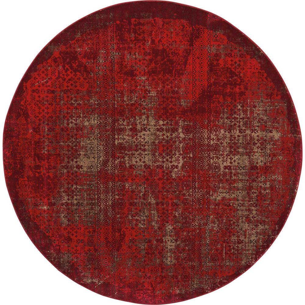 """Karma Area Rug, Red, 7'10"""" x ROUND. Picture 1"""