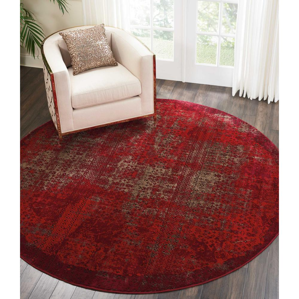 """Karma Area Rug, Red, 7'10"""" x ROUND. Picture 3"""