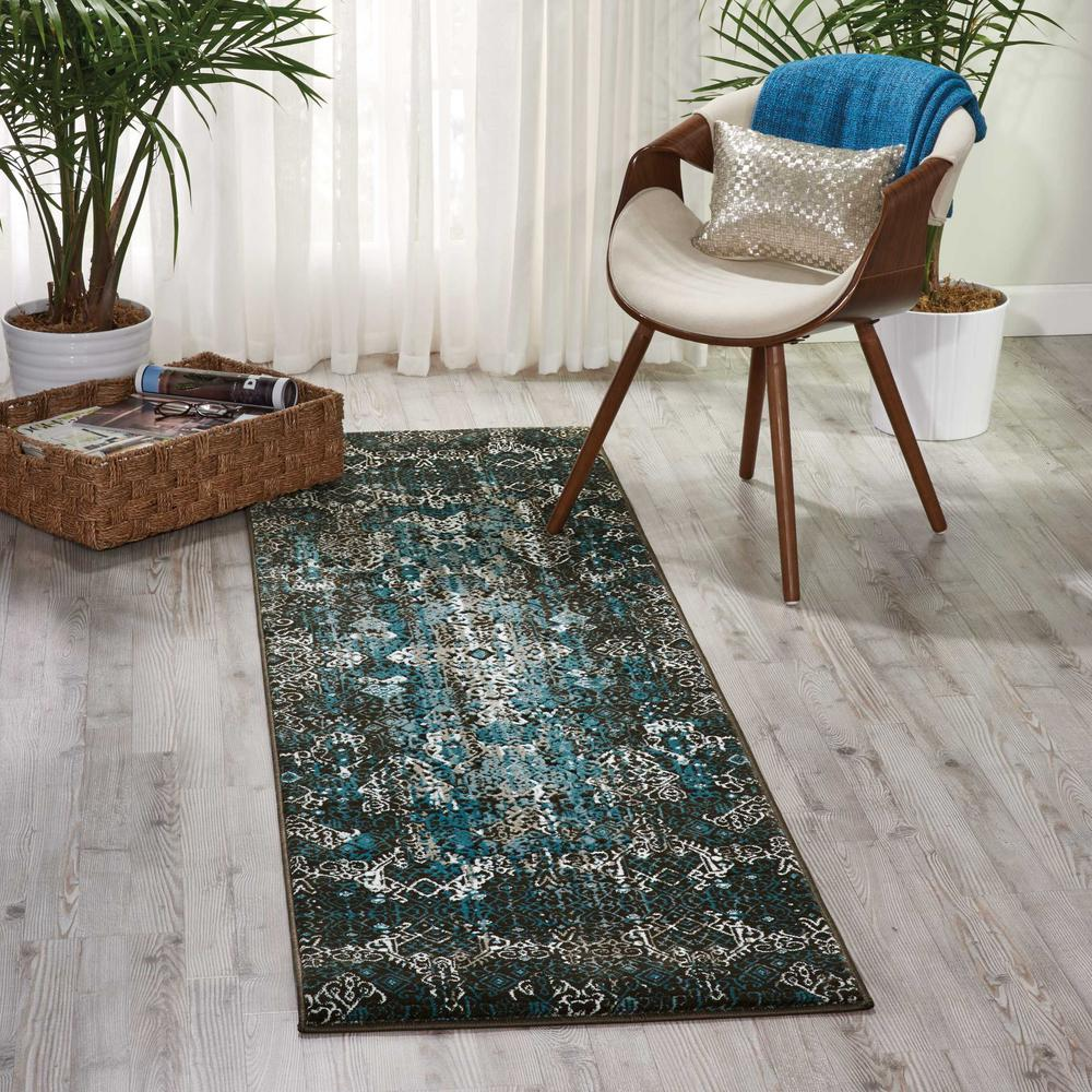 "Karma Area Rug, Blue, 2'2"" x 7'6"". Picture 3"