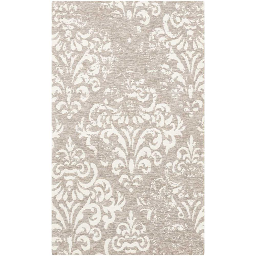 "Damask Area Rug, Ivory/Grey, 2'3"" x 3'9"". Picture 1"